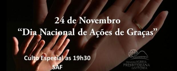 24 de Novembro – Dia nacional de Ações de Graças. Venha participar deste culto especial promovido pela SAF, e agradecer ao Senhor por todas as bençãos derramadas sobre sua vida. […]